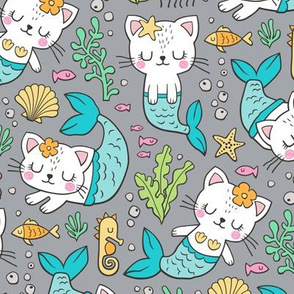 Purrmaids Cats Mermaids  Sea Doodle Blue on Grey