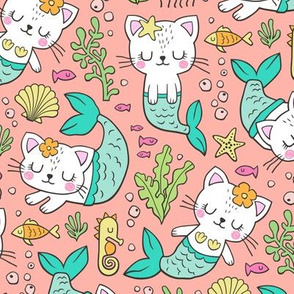Purrmaids Cats Mermaids  Sea Doodle on Peach