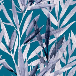 painted bamboo grey on blue