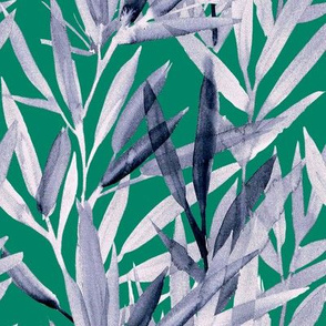 painted bamboo grey on green