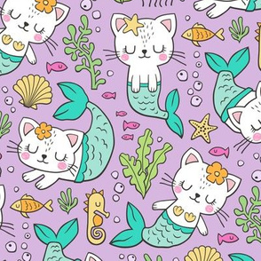 Purrmaids Cats Mermaids  Sea Doodle on Purple Lilac