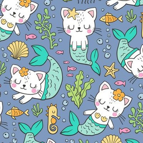 Purrmaids Cats Mermaids  Sea Doodle Mint on Dark Blue Navy