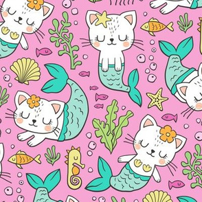 Purrmaids Cats Mermaids  Sea Doodle Mint on Magenta Pink