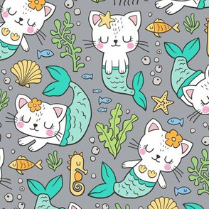 Purrmaids Cats Mermaids  Sea Doodle Mint on Grey