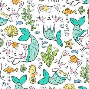 Purrmaids Cats Mermaids  Sea Doodle Mint on White