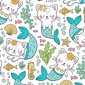 Purrmaids Cats Mermaids  Sea Doodle Blue on White