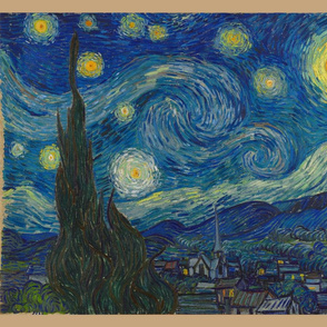 "Starry Night - bright colors - 21""x18"" panel"