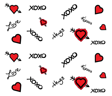Love-Hugs-Kisses  fabric by mvbartdesign on Spoonflower - custom fabric
