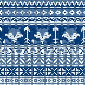 Fair Isle Fox Blue - White