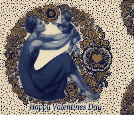 Happy Valentines Day Gold & Blue fabric by fabric_is_my_name on Spoonflower - custom fabric
