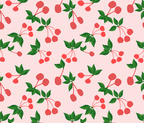Cherries and Dots Rockabilly fabric by snow_bird_designs on Spoonflower - custom fabric