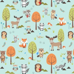 TINY Cute Woodland Animals on Blue