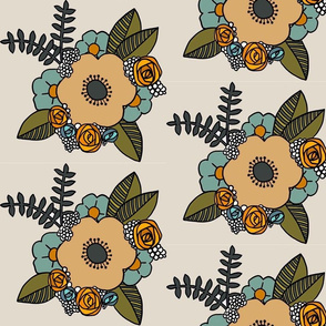 Retro floral cluster in blue and peach