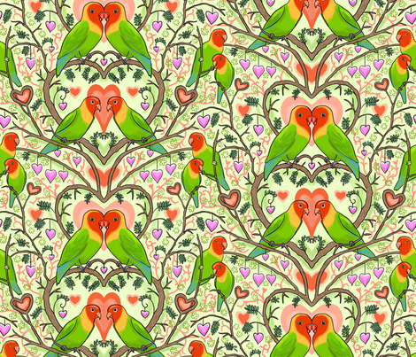Be My Lovebird Green fabric by vinpauld on Spoonflower - custom fabric