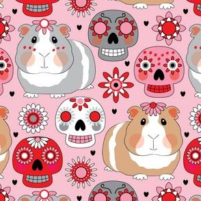 valentine guinea pigs and sugar skulls