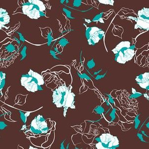 Beautiful flowers vintage style line seamless pattern