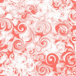 Coral Parfait Swirl | White + Living Coral