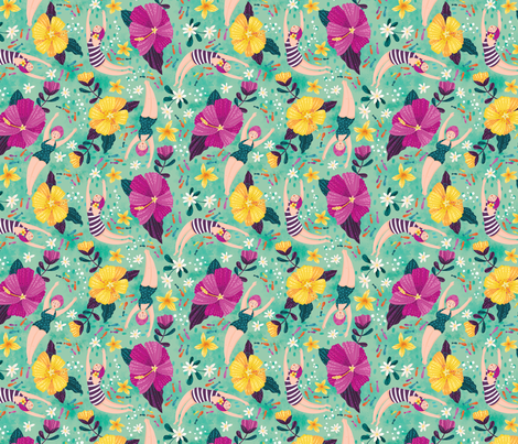 Underwater Beauties- small fabric by cynthiafrenette on Spoonflower - custom fabric
