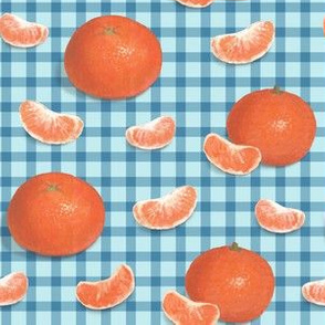 Mandarines on blue squares