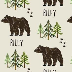 Custom Name - Riley (brown bear, tracks + pine trees)