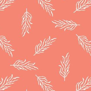 Pretty Coral Tossed Leaf Branches
