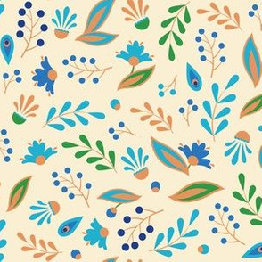 Folk leaves and flowers