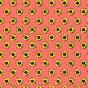 sunflower polkadots living coral