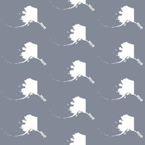 "Alaska silhouette - 6"" white on cool grey"