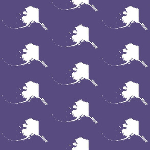 "Alaska silhouette - 6"" white on purple"