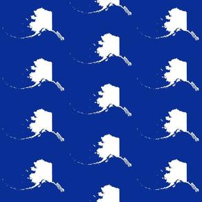 """Alaska silhouette - 6"""" white on cobalt blue"""