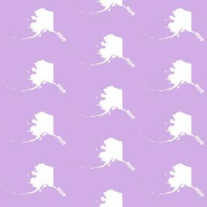 "Alaska silhouette - 6"" white on lilac"
