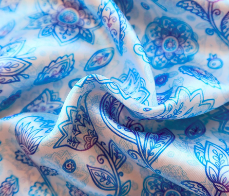 Blue ornate flowers pattern