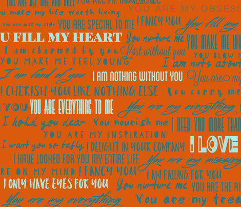 """100 ways to say """"i love you"""" fabric by jjdesignwithlove on Spoonflower - custom fabric"""