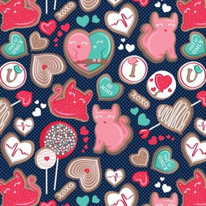 Valentine Sweetness  // small scale // navy blue background aqua pink and red cats and candy