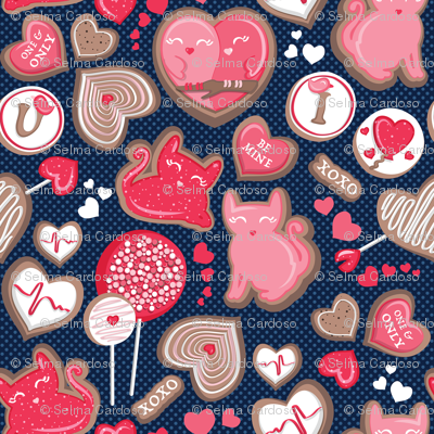 Valentine Sweetness  // small scale // navy blue background pink and red cats and candy