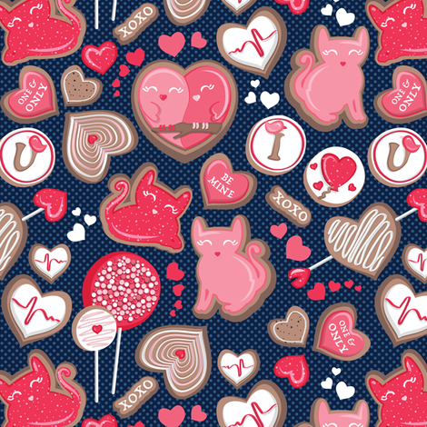 Valentine Sweetness  // small scale // navy blue background pink and red cats and candy fabric by selmacardoso on Spoonflower - custom fabric