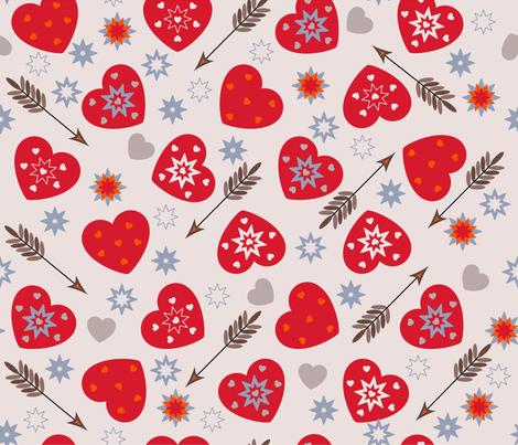 christmas hearts fabric by inna_alborova on Spoonflower - custom fabric