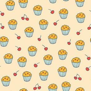 Muffins on beige