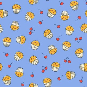 Muffins on blue multidirectional