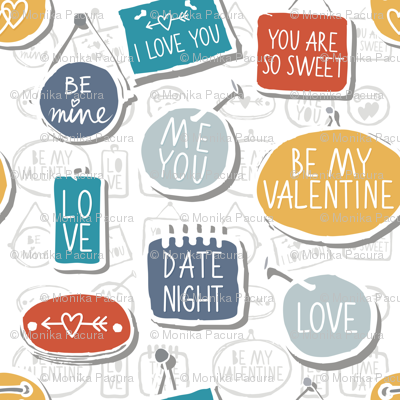 colorful love labels on white