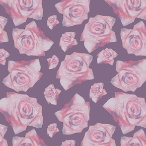 Pink Roses - Purple Background