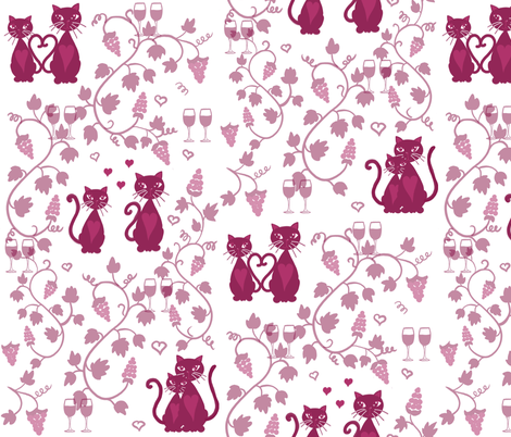 Meow Wine Valentine fabric by kasandra_rysuje on Spoonflower - custom fabric
