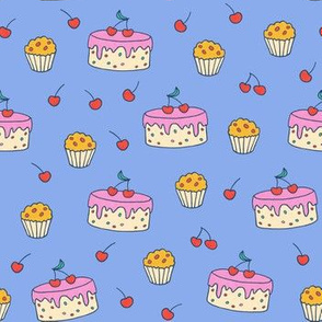 Cherry Cakes on blue