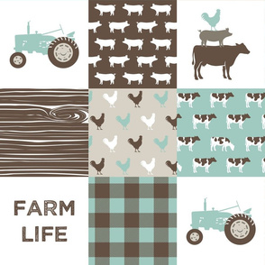Farm Life Wholecloth - Farm themed patchwork fabric - cows, pigs, roosters - dark mint and brown C18BS