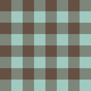 dark mint and brown plaid - farm life coordinate C18BS