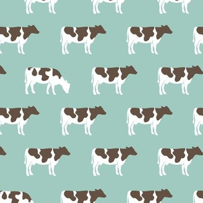 cows on dark mint - farm fabric C18BS