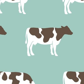 (large scale) cows on dark mint - farm fabric C18BS