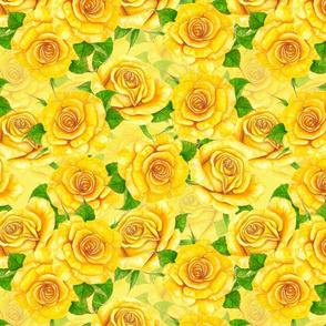 Yellow watercolor roses pattern
