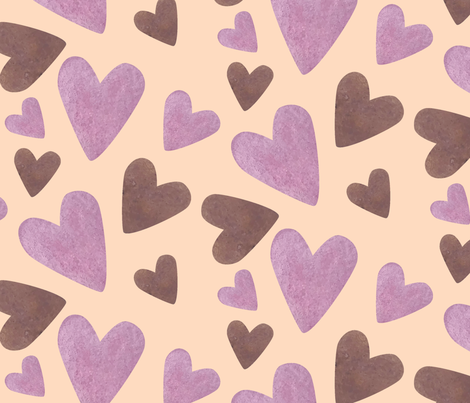 My Sugar Watercolor Chocolate Hearts fabric by dreambigdigitaldesign on Spoonflower - custom fabric
