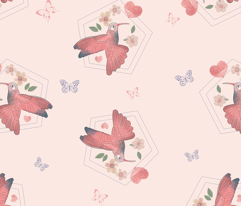 Love hummingbird   fabric by tatianagomes on Spoonflower - custom fabric